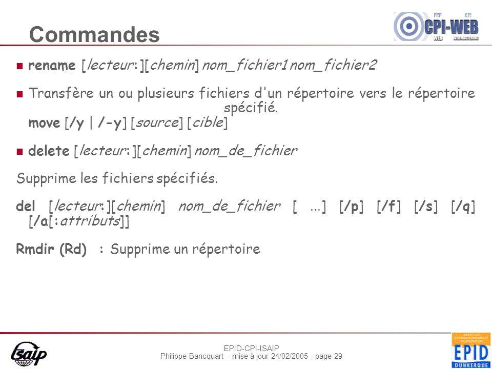 Commandes rename [lecteur:][chemin] nom_fichier1 nom_fichier2